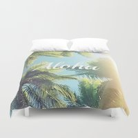 aloha Duvet Covers featuring Aloha by Pink Berry Patterns