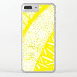 Free Hand Zesty Lemon Doodle Design Clear iPhone Case