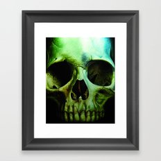 green skull Framed Art Print