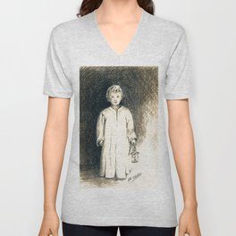 """Samuel! Samuel!"" graphite drawing Unisex V-Neck"
