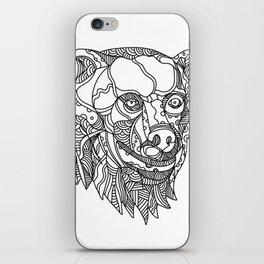 Brown Bear Head Doodle iPhone Skin