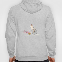 Love Delivery. Cupid on the bike, retro style design Hoody