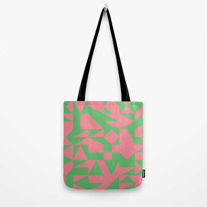 English Square (Pink & Green) Tote Bag
