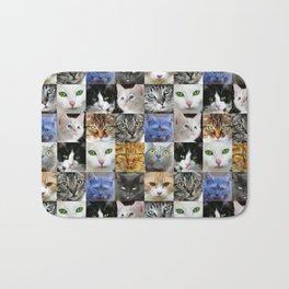 Cat Face Collage Bath Mat
