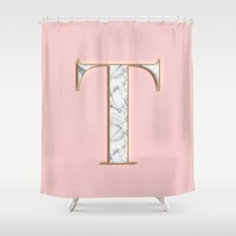 T letter monogram Shower Curtain
