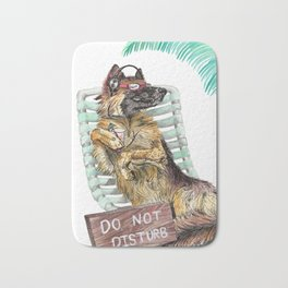 Lounge in the Sun, funny German shepherd dog GSD watercolor painting Bath Mat