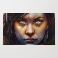 michael jackson Area & Throw Rugs featuring Una by Michael Shapcott