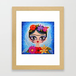 Little Fairy Flowery Frida Framed Art Print