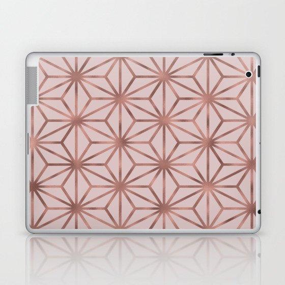 Rose Gold Geometric On Blush Background Laptop & iPad Skin