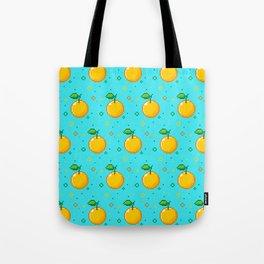 Pixel Oranges - Blue Tote Bag
