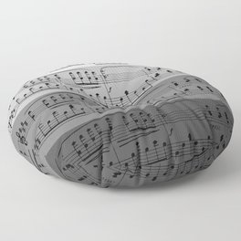 MUSIC IN GRADIENTS OF GREY - OMBRES OF GRAY - MUSICALS MONOCHROME #septcho19 Floor Pillow