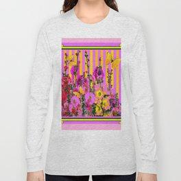YELLOW BUTTERFLIES  PINK FLORAL GARDEN  ABSTRACT Long Sleeve T-shirt