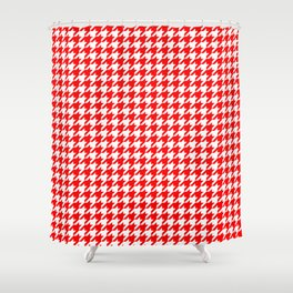 Scarlet Houndstooth Shower Curtain
