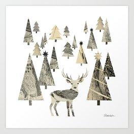 Winter Woods, collage Art Print