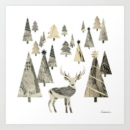 Winter Woods, collage Art Print