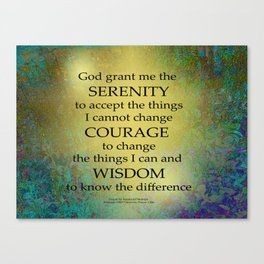 Serenity Prayer Gold on Blue-Green Canvas Print