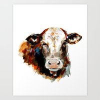 craftberrybush Art Prints featuring  Cow watercolor by craftberrybush