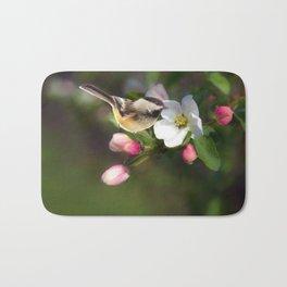 Apple Blossom and Chickadee Bath Mat