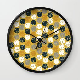 Rosie II Mid Century Modern Floral Pattern in Light and Dark Mustard, Gray, White, and Navy Blue Wall Clock