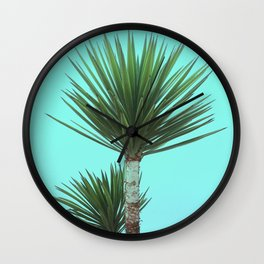 Explosive Palm Leaves Grow on Wild Tropical Island Plant Wall Clock