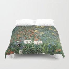 Gustav Klimt - Farm Garden with Sunflowers Duvet Cover