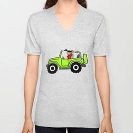Jeep Wave Girl - Side View - Lime Green Unisex V-Neck