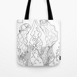 Two mermaids, many pearls Tote Bag