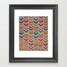 Teal, Red and Goldenrod chevron Framed Art Print