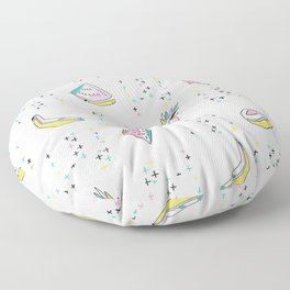 Fun Memphis Fruit Pattern, Seamless Vector Background with Strawberry Floor Pillow