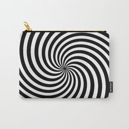 Black And White Op Art Spiral Carry-All Pouch
