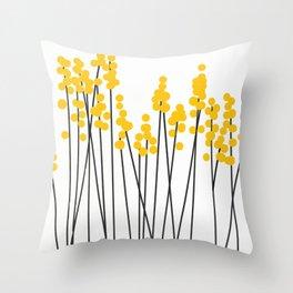 Hello Spring! Yellow/Black Retro Plants on White #decor #society6 #buyart Throw Pillow