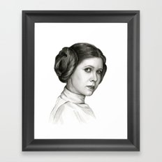 Princess Leia Watercolor Painting Carrie Fisher Portrait Framed Art Print