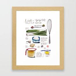 illustrated recipes: leek and yogurt soup Framed Art Print