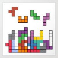 tetris Art Prints featuring Tetris by Adayan