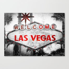 Fabulous Las Vegas Sign Scratched Aged  Canvas Print