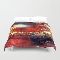 cafe Duvet Covers featuring Antwerpen cafe by Yukska