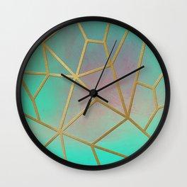 Gold Ribbed Aqua Pastel Wall Clock