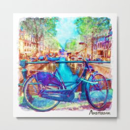 Amsterdam Bicycle Metal Print