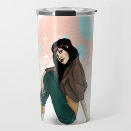 girl with hair band Travel Mug