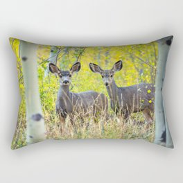 Double Take - Pair of Young Mule Deer Hiding in Autumn Aspens Rectangular Pillow