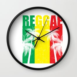 Reggae Jamaican Vacation product Gift Palm Tree Silhouette Wall Clock