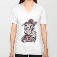 samurai V-neck T-shirts featuring Samurai  by Geek World