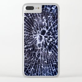 Abstract Art of Broken Glass Close up shot in dark background Clear iPhone Case