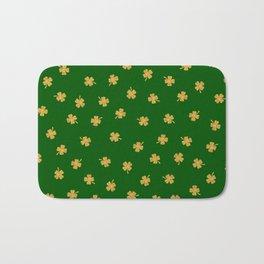 Golden Shamrocks Green Background Bath Mat