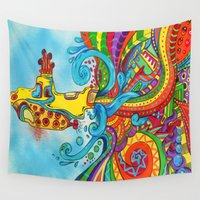 submarine Wall Tapestries featuring The Yellow Submarine by Nick Swann