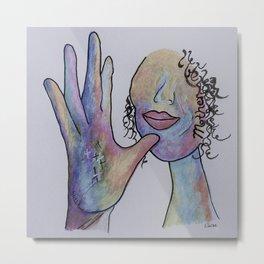 ASL Mother in Denim Colors Metal Print