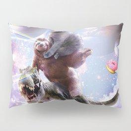 Laser Eyes Space Cat On Sloth Dinosaur - Rainbow Pillow Sham