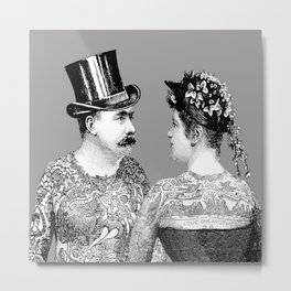 Tattooed Victorian Lovers Metal Print