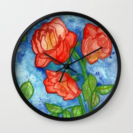 Peachy Colored Roses Wall Clock