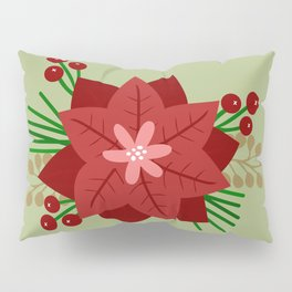 Poinsettia and Berries Pillow Sham